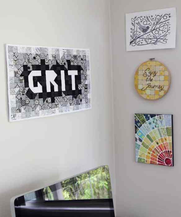 Grit patchwork wall quilt, a modern mini-quilt by Bonjour Quilts. All squares and HSTs, easy for beginners!
