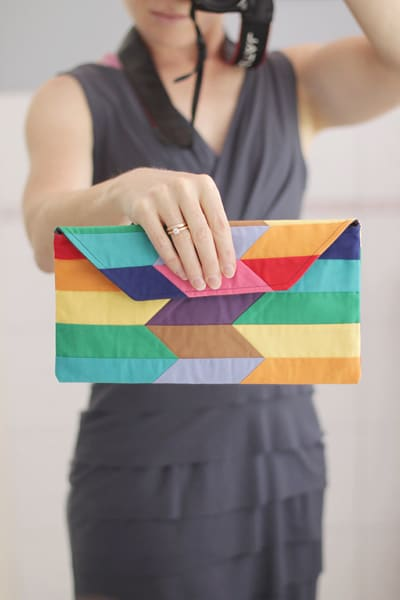 Free Rainbow Patchwork Clutch Purse Pattern PDF by Bonjour Quilts