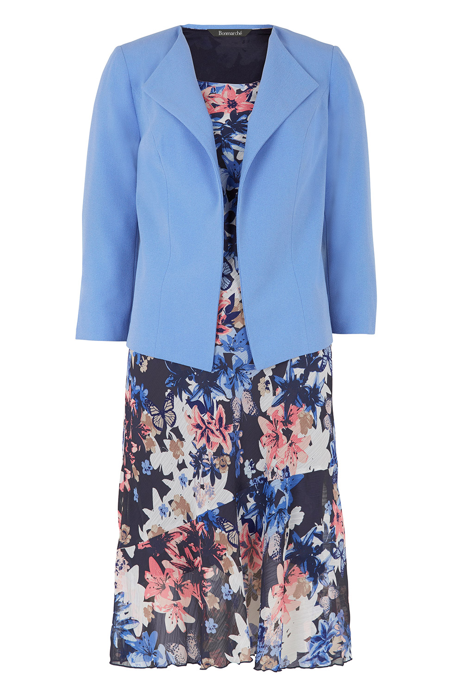Short Sleeve Floral Dress And Jacket