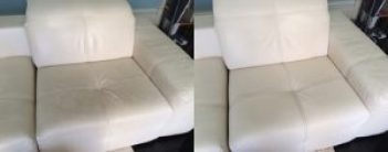 Leather cleaning armchair before and after cleaning by Bonne Fresh Clean