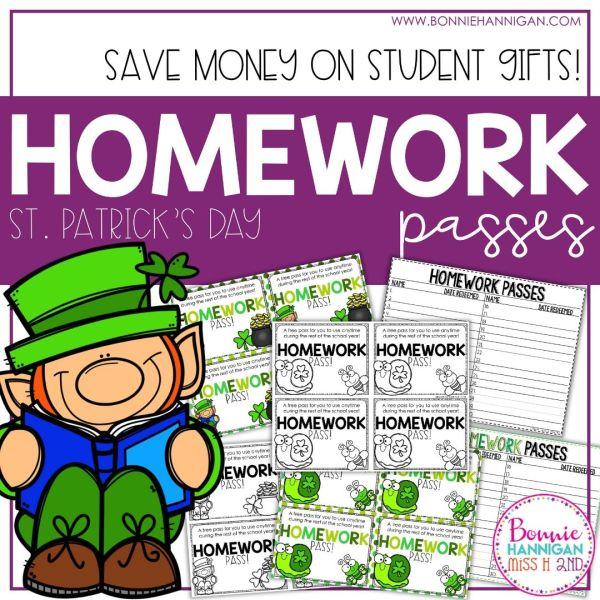 St Patricks Day Homework Passes