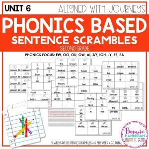 Grade 2 Unit 6 Phonics Sentence Scrambles