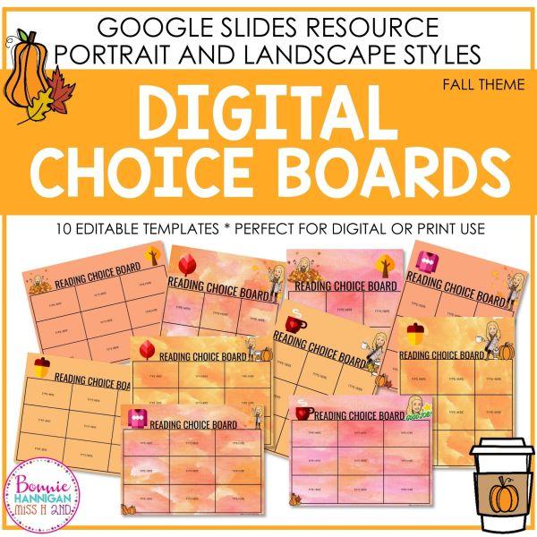 Fall Digital Choice Boards