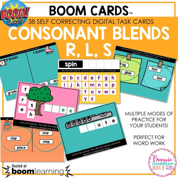 Boom Cards Consonant Blends r, l, s