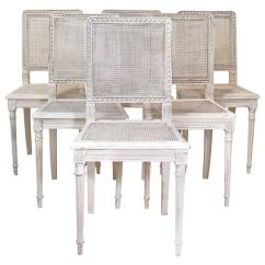 Dining Chairs With Caning Tables And Wholesale In Los Angeles Set Of Six Painted French Louis Xvi Style Cane Back Seat France Circa 1900
