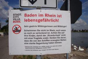 Schwimmen im Rhein ist lebensgefährlich