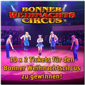 2 Eintrittskarten für den Bonner Weihnachtscircus gewinnen!