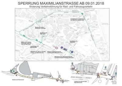 Neubau Maximiliancenter: Vollsperrung der Maximilianstraße ab Januar 2018