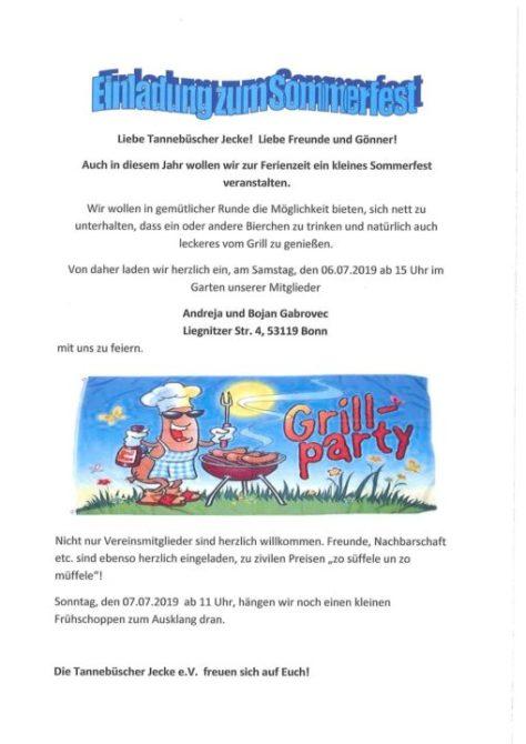 """Sommerfest der Bürger- und Karnevalsgesellschaft """"Tannebüscher Jecke"""""""
