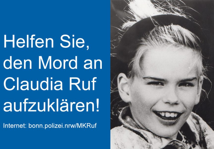 Mordfall Claudia Ruf: 5000 Euro Belohung für Hinweise, die zur Ergreifung des Täters führen. Hinweise an: 02131-300-25252
