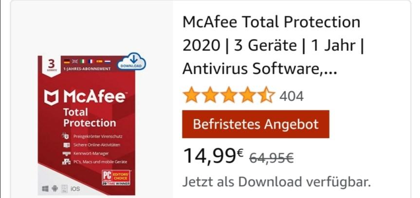 McAfee Total Protection 2020 | 3 Geräte | 1 Jahr | Antivirus Software, Virenschutz-Programm, Passwort Manager, Mobile Security, Multi Geräte | PC/Mac/Android/iOS |Europäische Ausgabe| Download Code