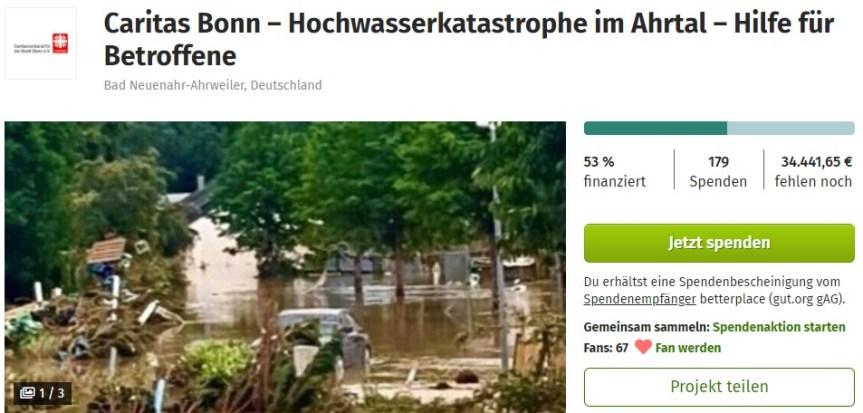 Caritas Bonn – Hochwasserkatastrophe im Ahrtal – Hilfe für Betroffene