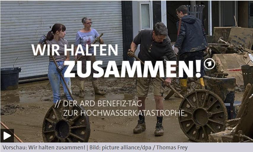 """Wir halten zusammen! ARD Benefiztag zur Hochwasserkatastrophe gemeinsam mit """"Aktion Deutschland hilft – Bündnis deutscher Hilfsorganisationen"""""""