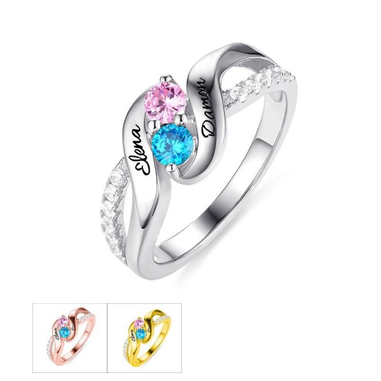 Couple Birthstones Ring