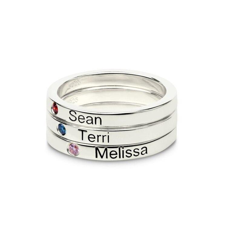 Birthstone Name Ring