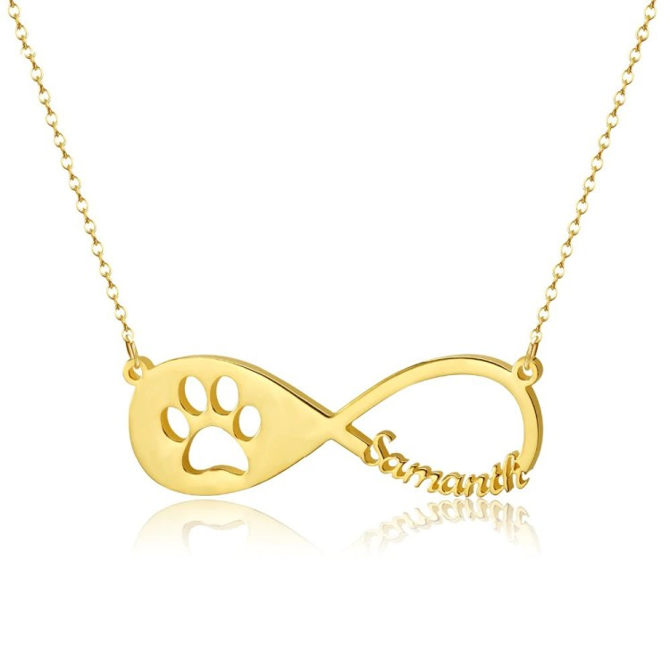 Cute Paw Name Necklace