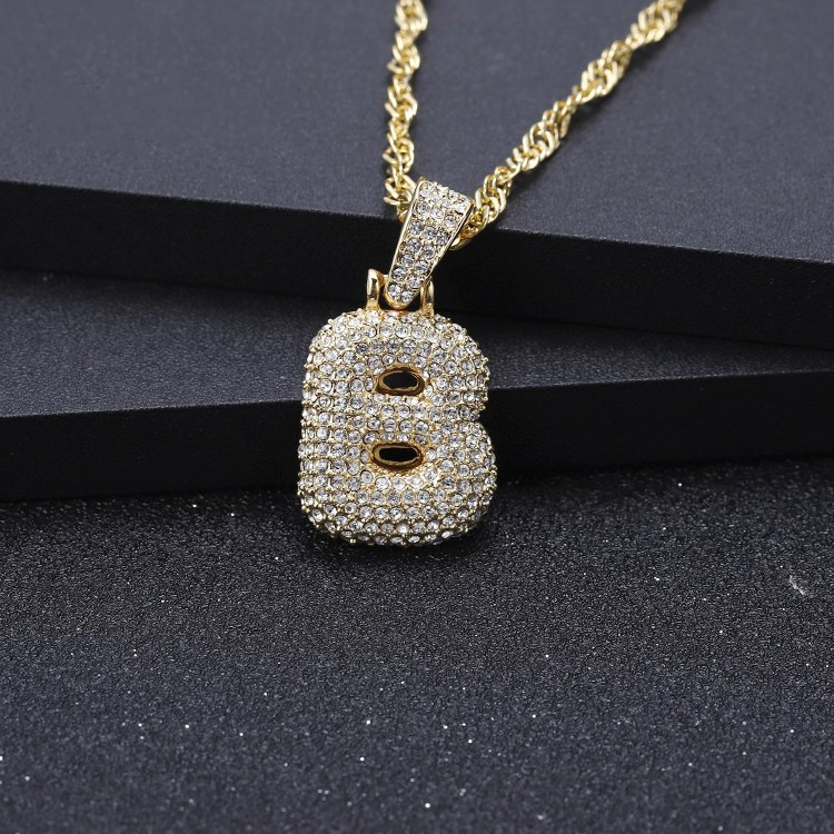 Bubble Letter Crystal Necklace