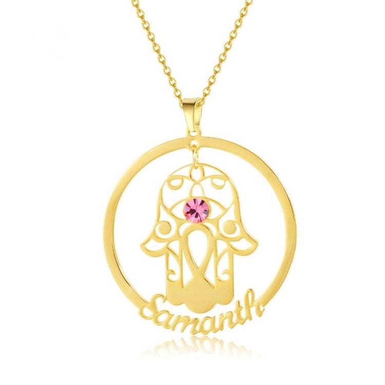 Hamsa Name Necklace