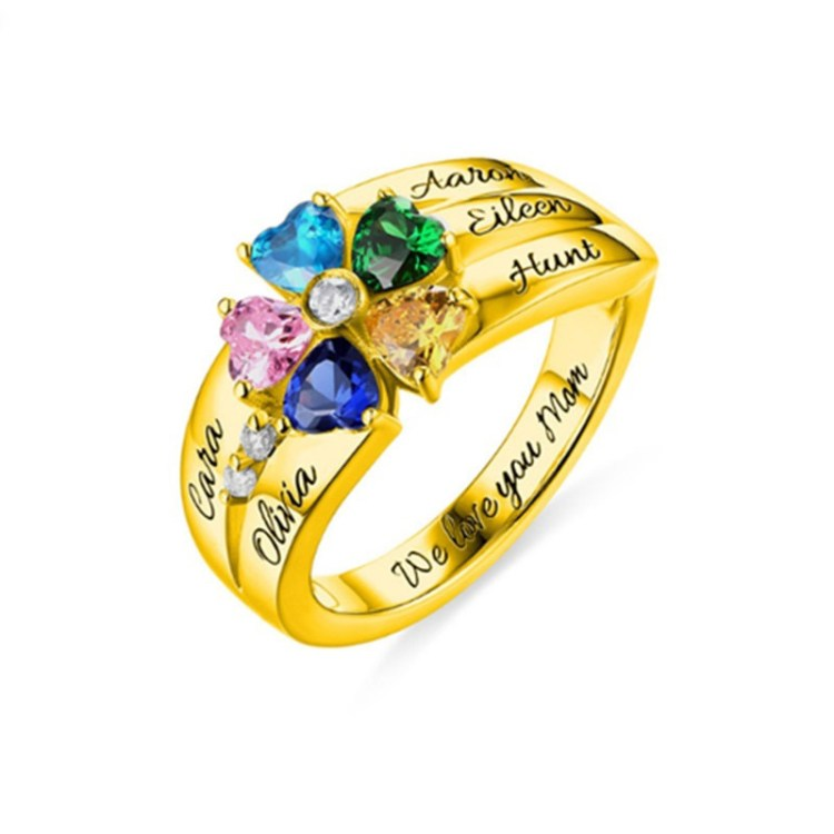 Birthstone Hearts Ring