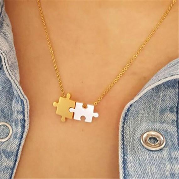 bohemian jigsaw design puzzle necklace