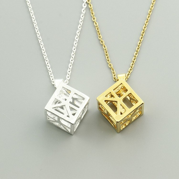 3d square geometric nacklace for women bijoux collier
