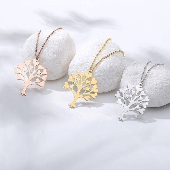 best gift for family members minimalist simple family tree of life necklace in gold silver rose gold colors