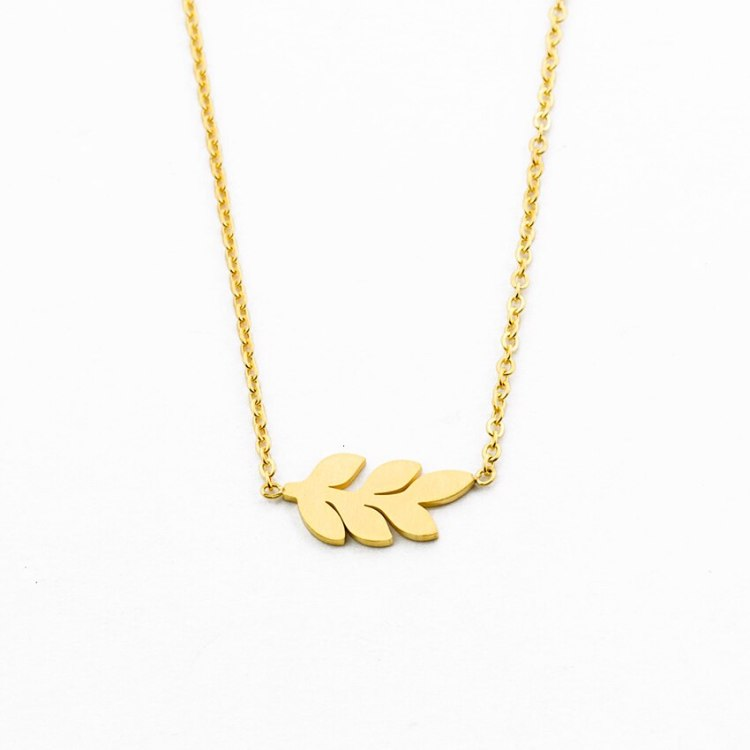 bohemian jewelry women simple necklace with laurel leaves