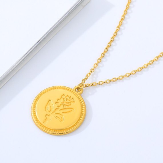 bridesmaid gift roseflower engraved pendant necklace minimalist