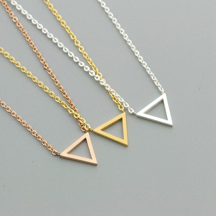 cheap price stainless steel triangle minimalist jewelry collier bijoux joyeria