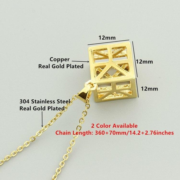 dimensions of minimalist 3d cube necklace pendant