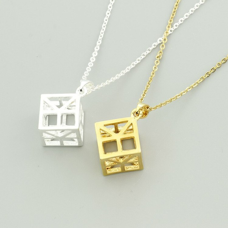 geometric cube necklace in gold silver rosegold colors