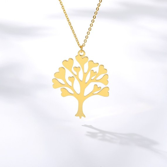 heart leaves family tree necklace in gold color tree of life heart leaf