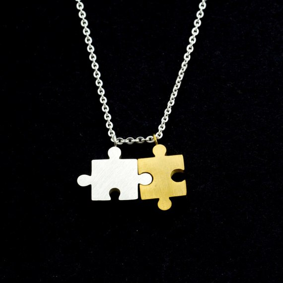 dual two color gold silver simple jigsaw women gift necklace