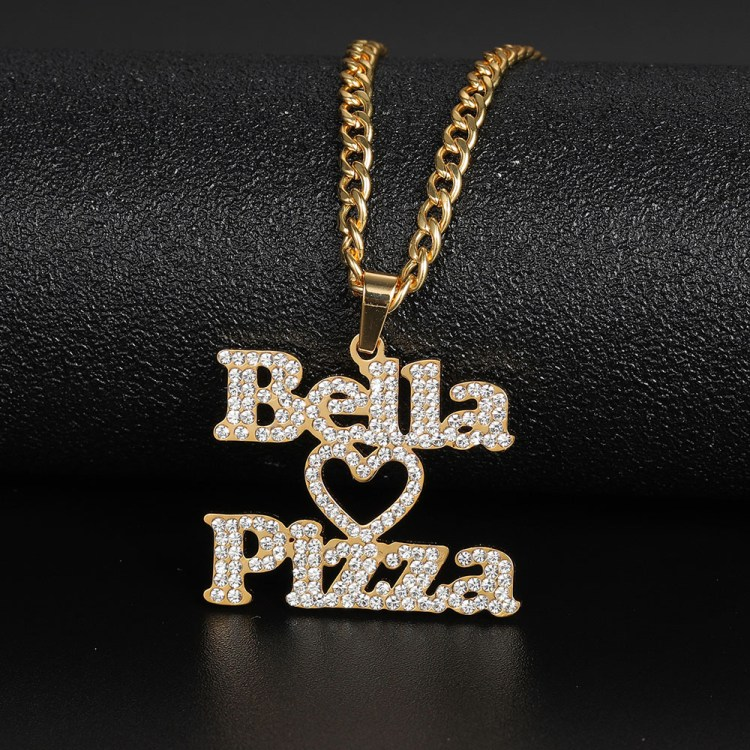 bella pizza personalized brand band name necklace for men women with heart