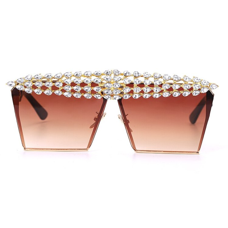 luxury fashion diamond rhinestones square sunglasses for women 2021 trendy fashion products sunglasses in brown red color