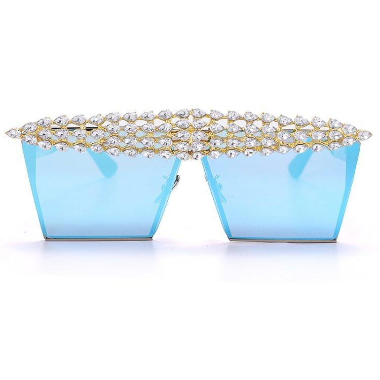 luxury fashion diamond rhinestones square sunglasses for women 2021 trendy fashion products sunglasses in light blue color