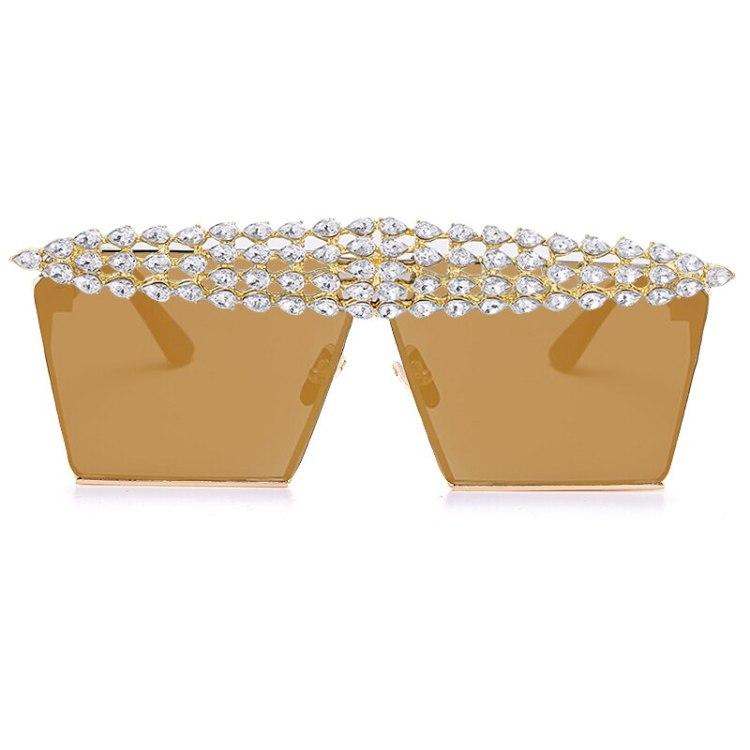 luxury fashion diamond rhinestones square sunglasses for women 2021 trendy fashion products sunglasses in light brown color