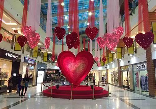 valentine day celebration in a mall
