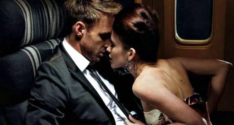 couple intimate in flight