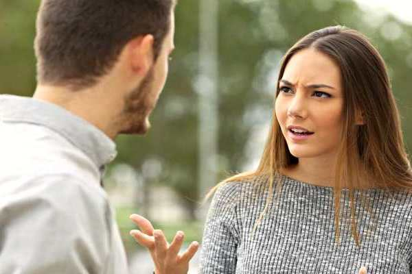surprised woman with man