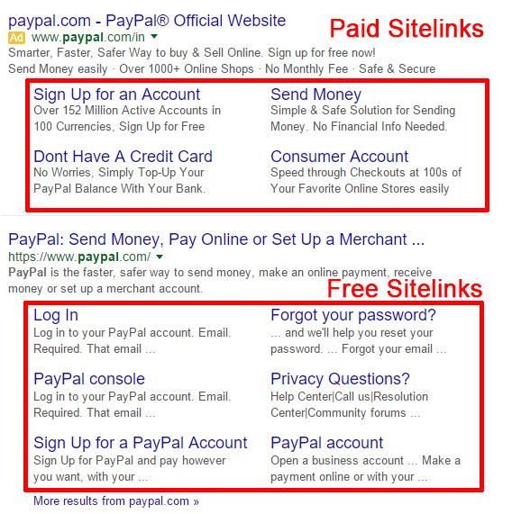 paid sitelinks, free sitelinks, paypal sitelinks