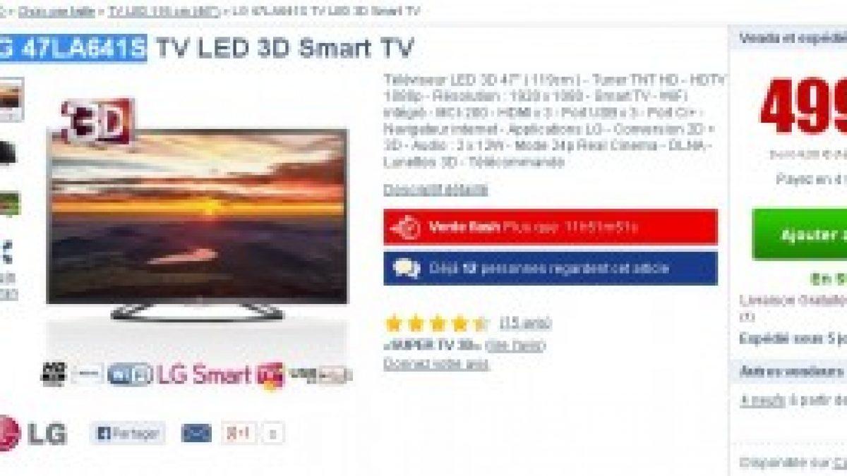 bon plan tv 3d moins de 500 euros une tv lg 3d 47 pouces connectee en wifi