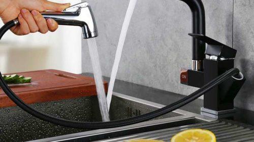 cuisine mitigeur noir avec douchette