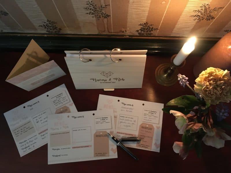 huwelijkshuistijl houten gastenboek invulkaarten