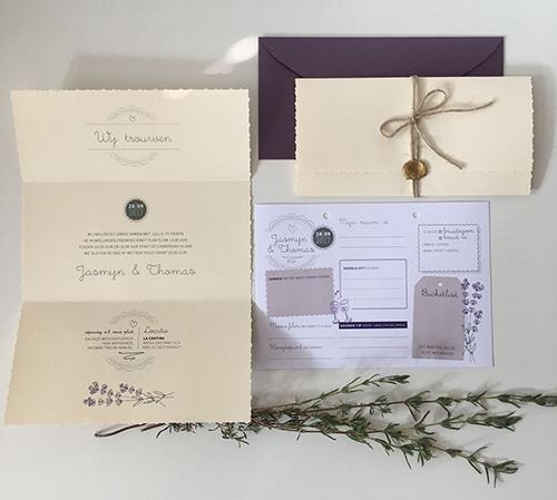 huwelijkshuisstijl trouwkaart houten gastenboek met invulkaarten