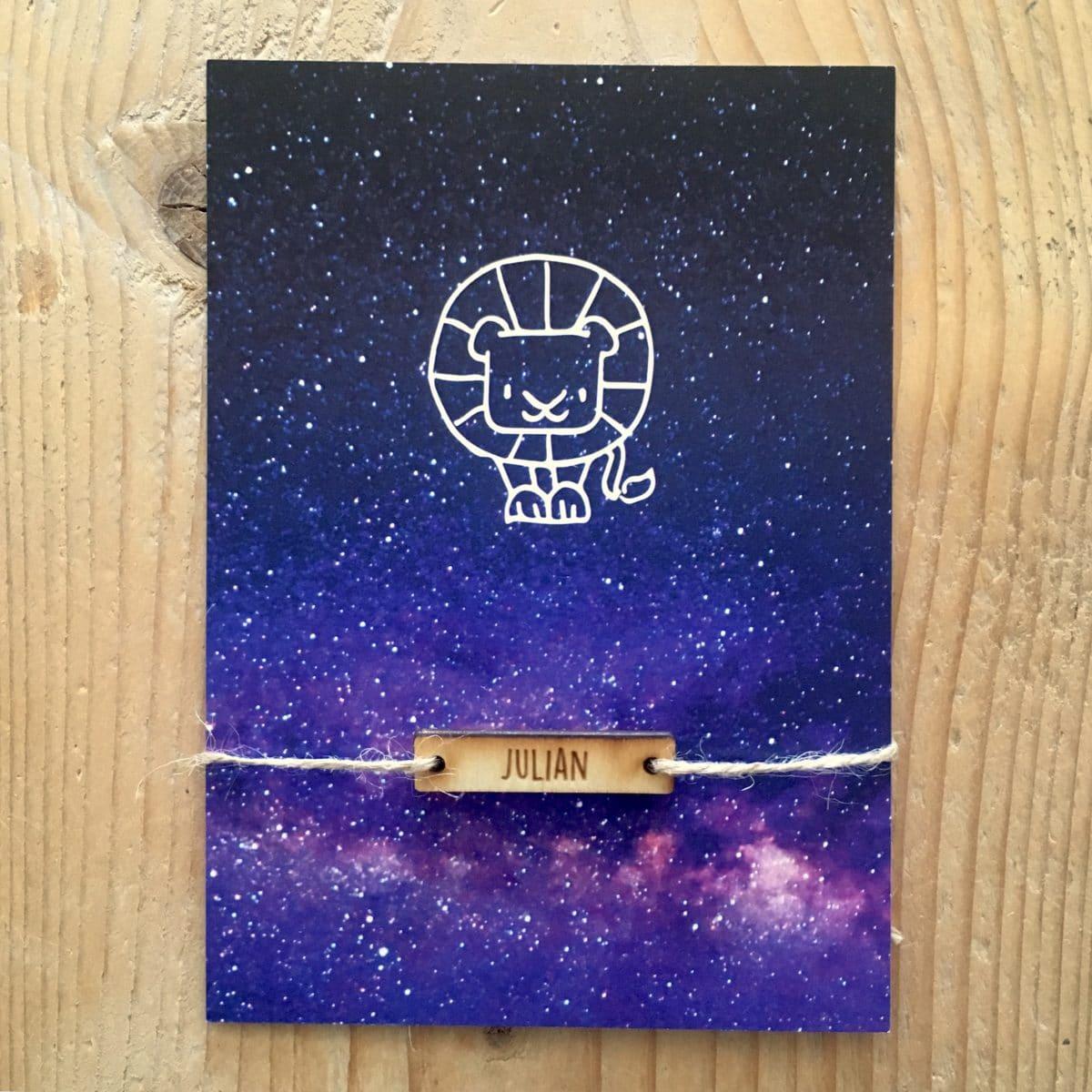 geboortekaartje galaxy leeuw sterrenbeeld horoscoop