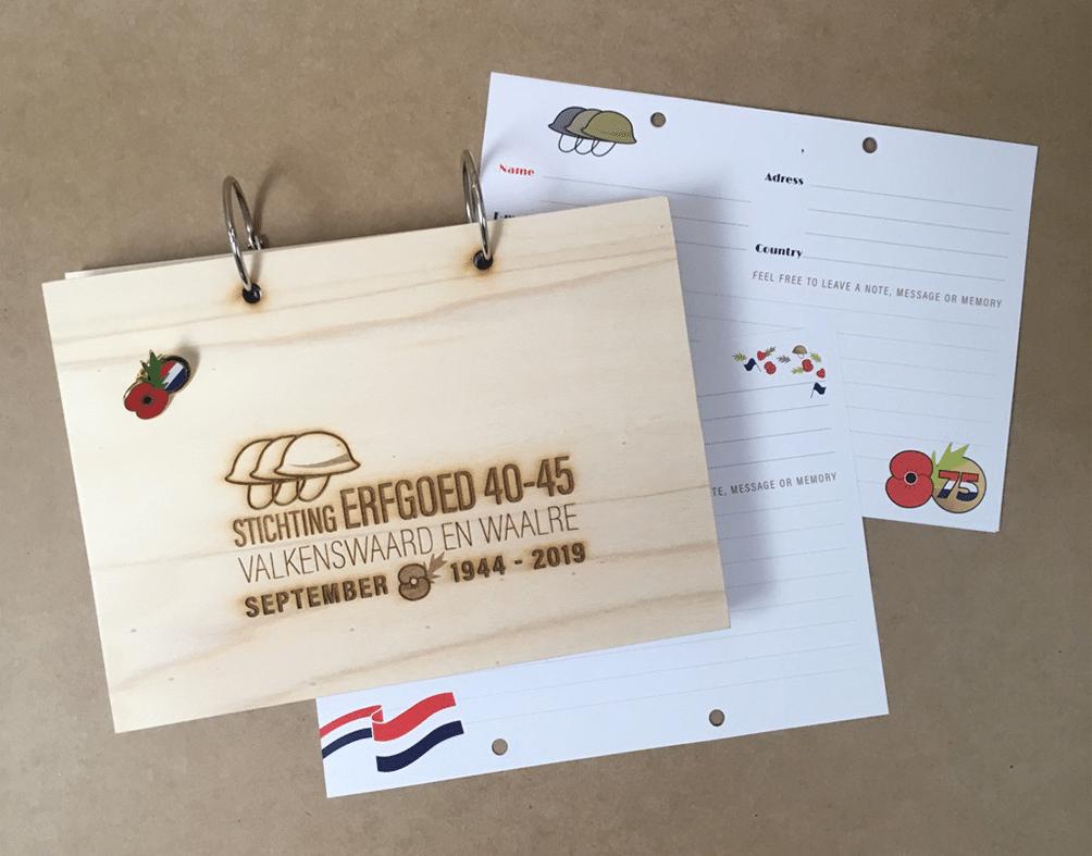 houten gastenboek 75 jaar market garden