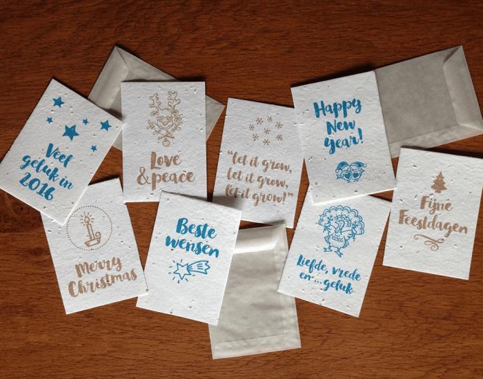 Kerstkaarten van groeipapier groeikaart