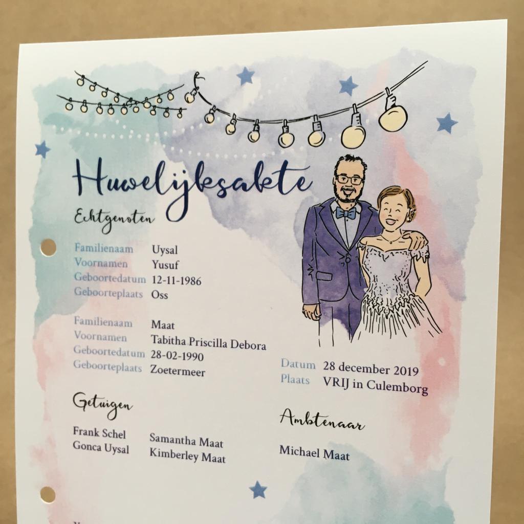 portretillustratie bruidspaar