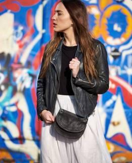 Emilie chain bag suede black Elvy